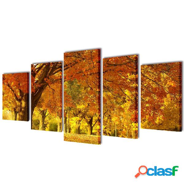 Set decorativo de lienzos para la pared bosque arces 200 x