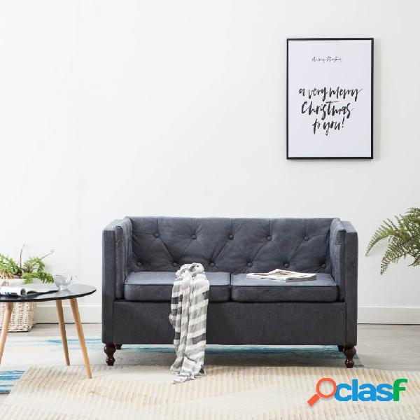 Sofá Chesterfield de 2 plazas con tapizado de tela gris
