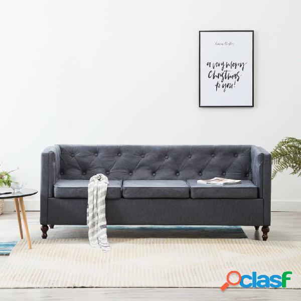Sofá Chesterfield de 3 plazas con tapizado de tela gris