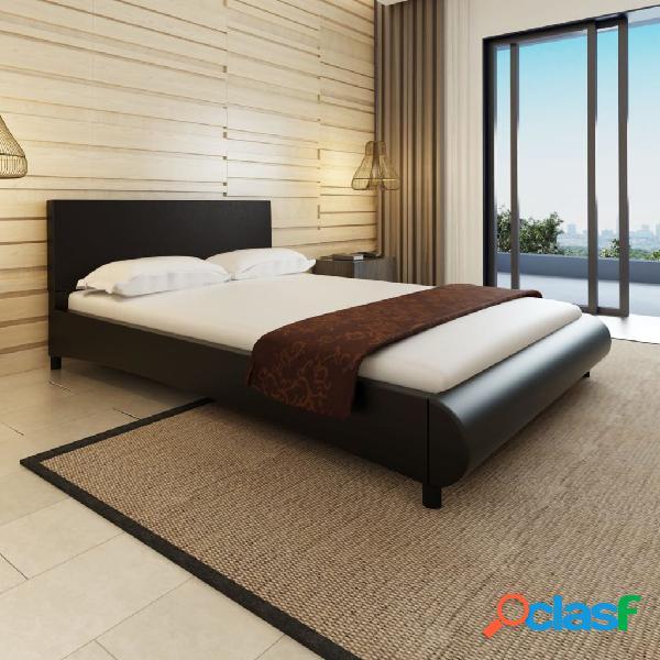vidaX Cama con colchón de cuero artificial negra 140x200 cm