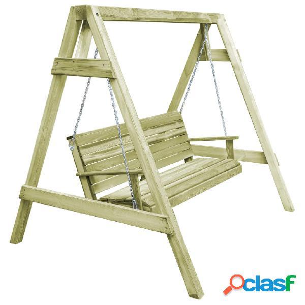 Columpio asiento jardín madera pino impregnada 215x171x180