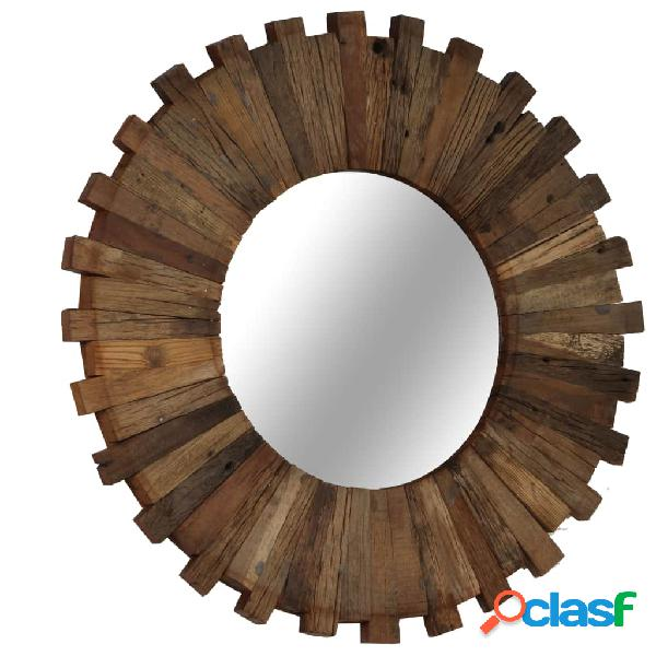 Espejo de pared madera maciza de traviesas del tren 50 cm