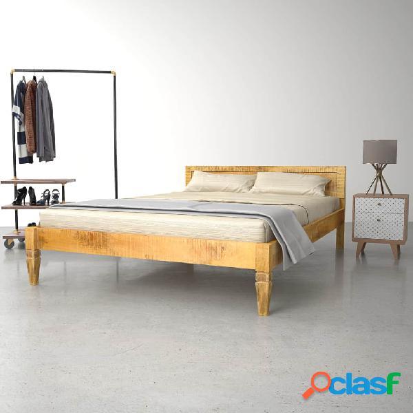 Estructura de cama de madera de mango maciza 140 cm