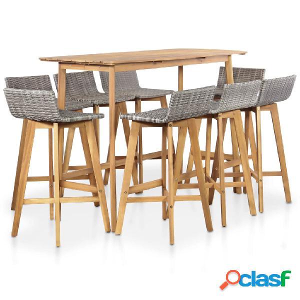 Muebles de bar jardín 9 piezas ratán sintético y acacia
