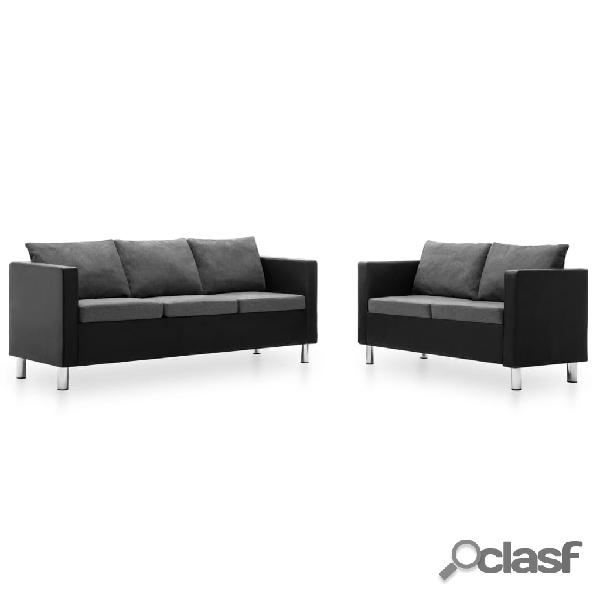 Set de sofás de 2 piezas de cuero sintético negro y gris