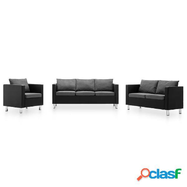 Set de sofás de 3 piezas de cuero sintético negro y gris