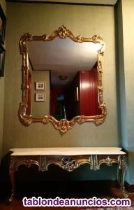 Vendo consola y espejo de bronce