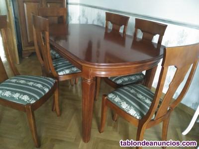 Mesa y seis sillas de salon