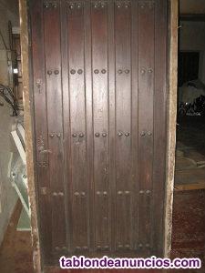 Vendo puerta de madera de castaño - incluye marco y herraje