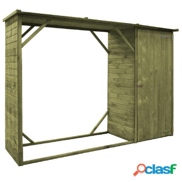 Caseta leña y herramientas jardín FSC madera pino