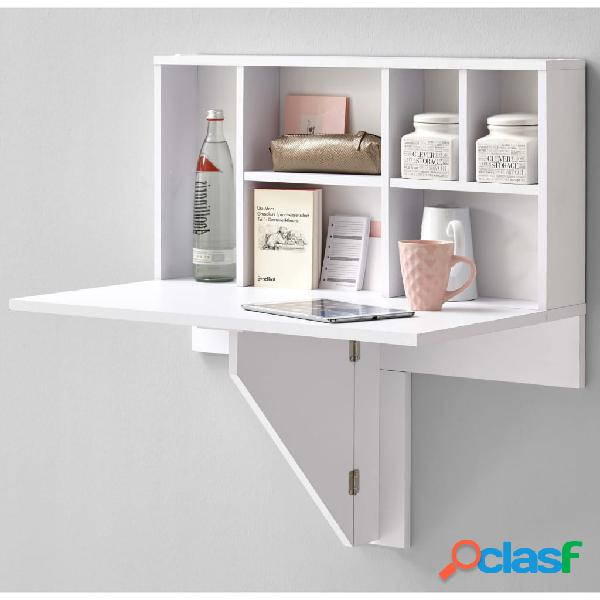 FMD Mesa de pared de hoja plegable con estante blanca