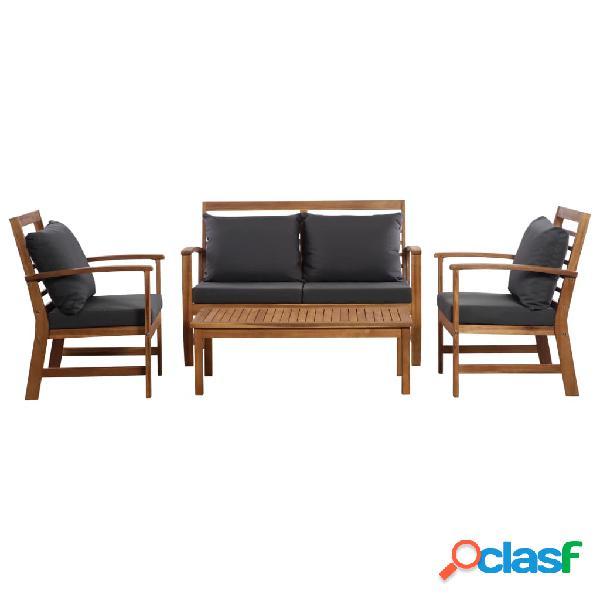 Juego de sofás de jardín 12 piezas madera de acacia maciza