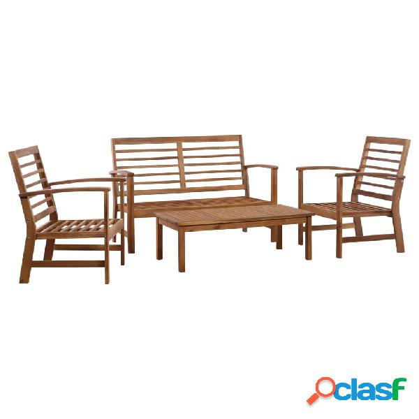 Juego de sofás de jardín 4 piezas madera de acacia maciza