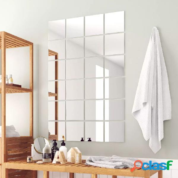 Azulejos de espejo 24 unidades cuadrados vidrio