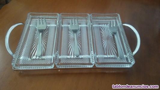 Bandeja alpaca, aperitivos, recipientes cristal, tenedores