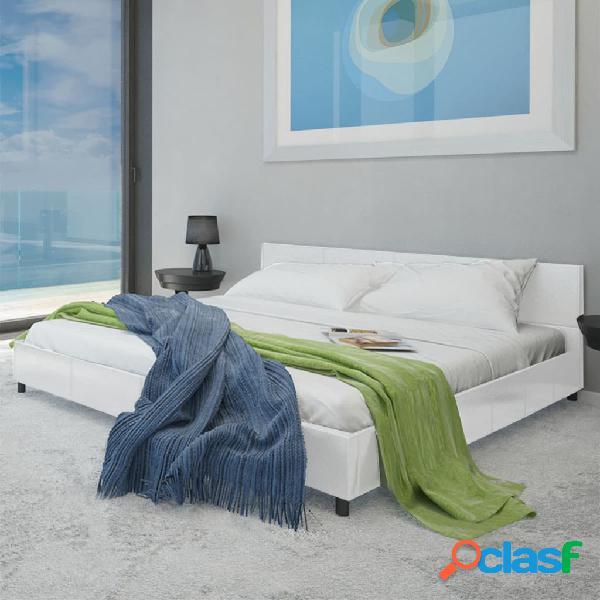 Cama de cuero artificial blanca 140x200 cm