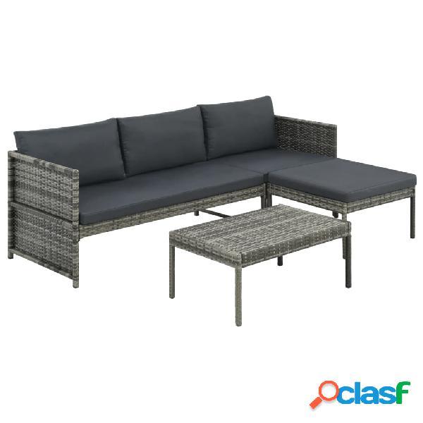 Conjunto de sofás de exterior 9 piezas ratán sintético