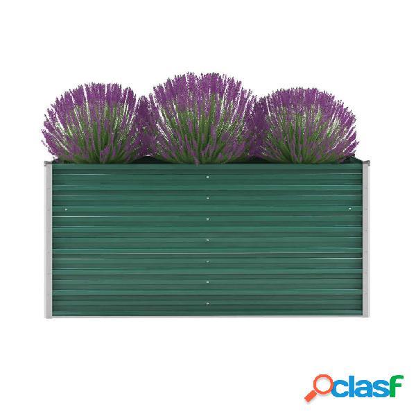 Jardinera de jardín de acero galvanizado 160x40x77 cm verde