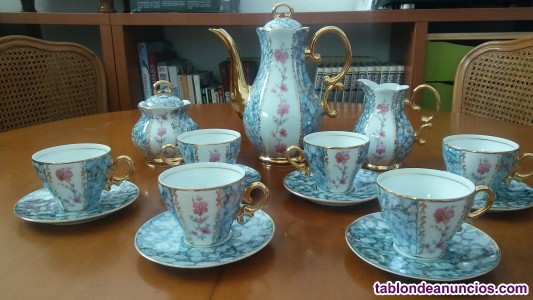 Juego de café, de porcelana de calidad, adornos oro