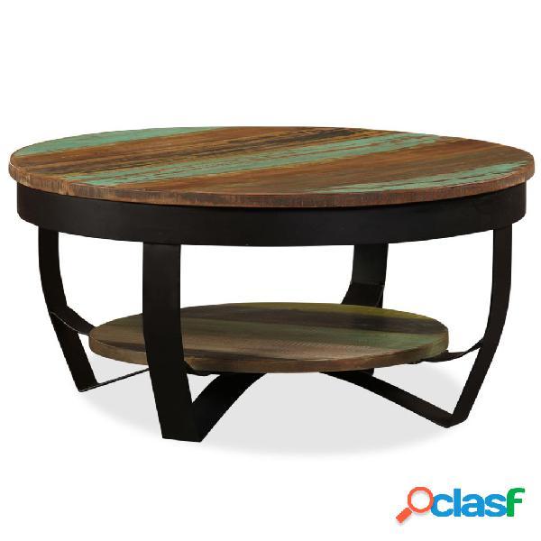 Mesa de centro de madera maciza reciclada 65x32 cm