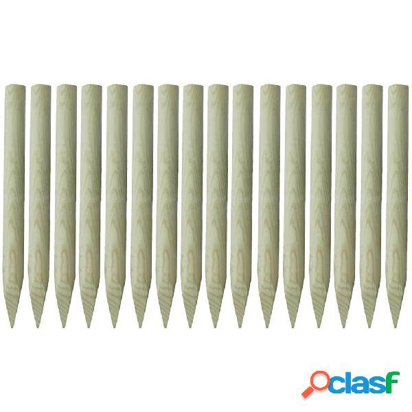Postes de valla puntiagudos 16 unids madera impregnada