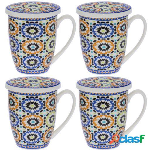 Wellindal Set 4 tazas infusión porcelana con filtro acero