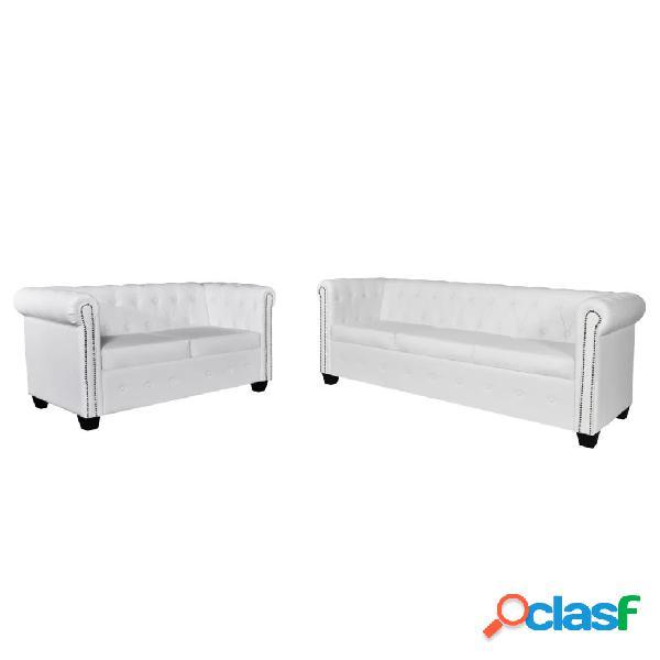 Set de sofás Chesterfield de 2 y 3 plazas cuero artifical