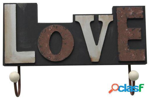 Wellindal Colgador Decorativo 2 Ganchos Love-