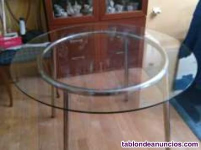 Mesa comedor de acero inoxidable y cristal