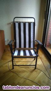 Mesa metalica y cristal con seis sillas para jardin o