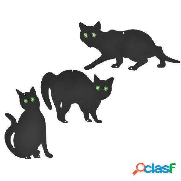 Ahuyentador de gatos 3 piezas acero negro
