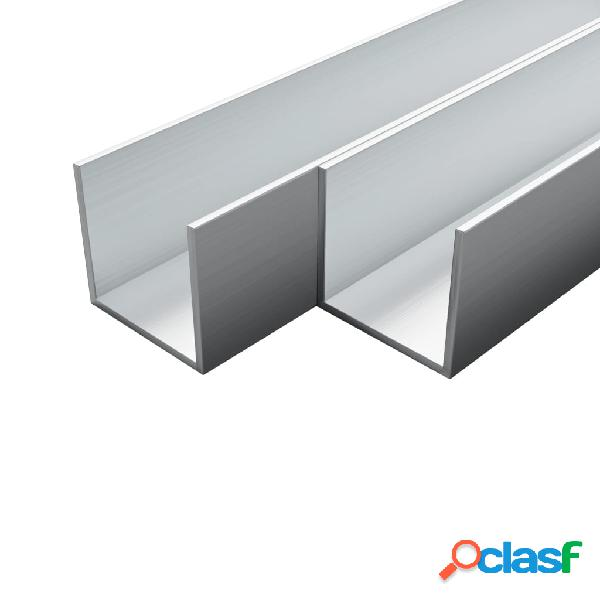 Barras de canal de aluminio perfil en U 1 m 4 uds 10x10x2mm