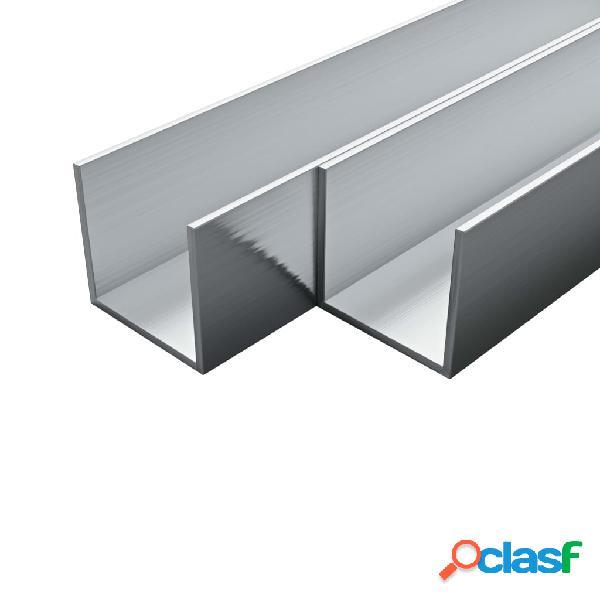 Barras de canal de aluminio perfil en U 2 m 4 uds 15x15x2mm
