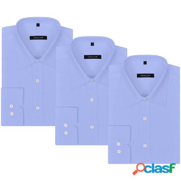 Camisas de vestir de hombre 3 unidades L azul claro