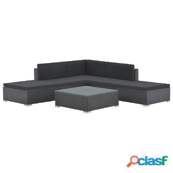 Conjunto de sofás de jardín de ratán sintético negro 15