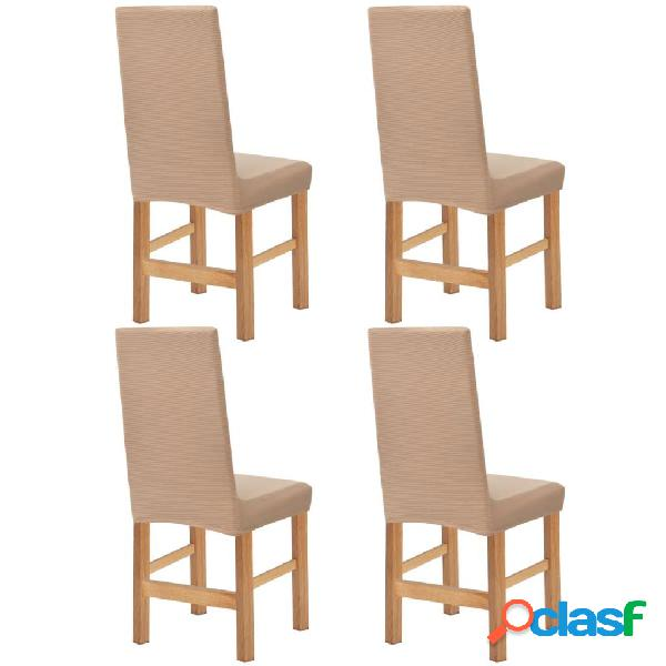 Funda elástica para silla de franja ancha beige 4 unidades
