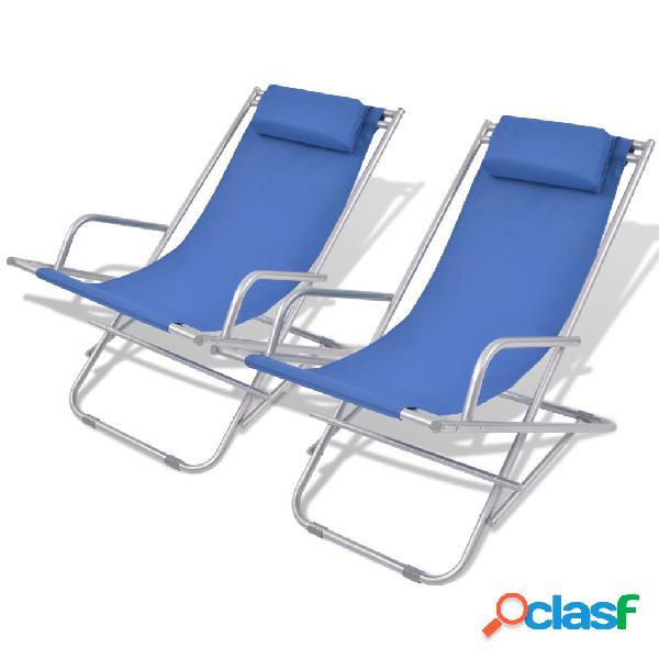 Hamacas de playa reclinables 2 unidades azul acero 69x61x94