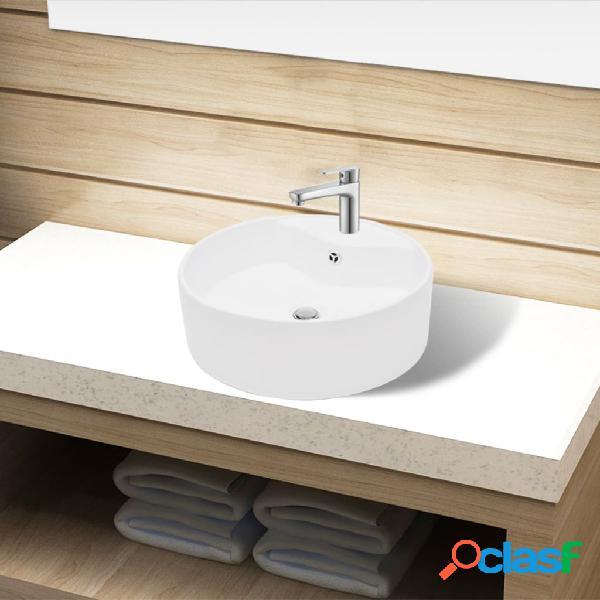 Lavabo de cerámica con agujero para grifo/desagüe blanco