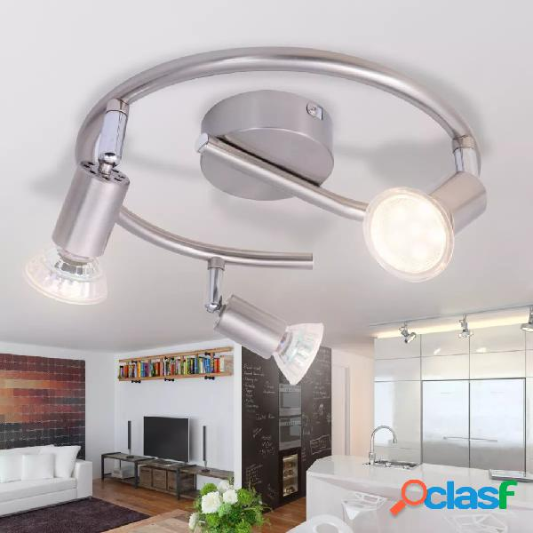 Lámpara de techo con 3 focos LED de níquel satinado