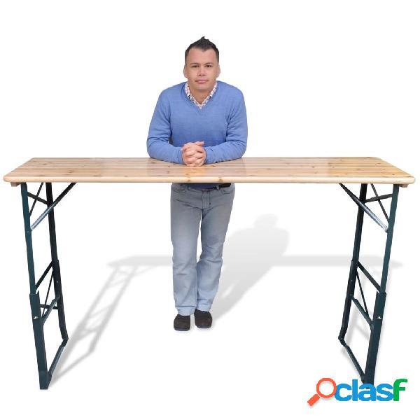 Mesa de cerveza plegable 179 x 50 x 75/105cm madera de pino