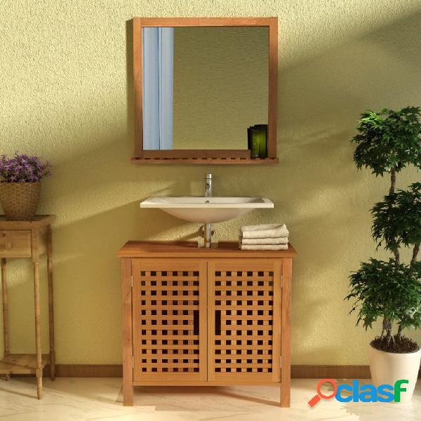 Mueble de lavabo con espejo madera maciza de nogal