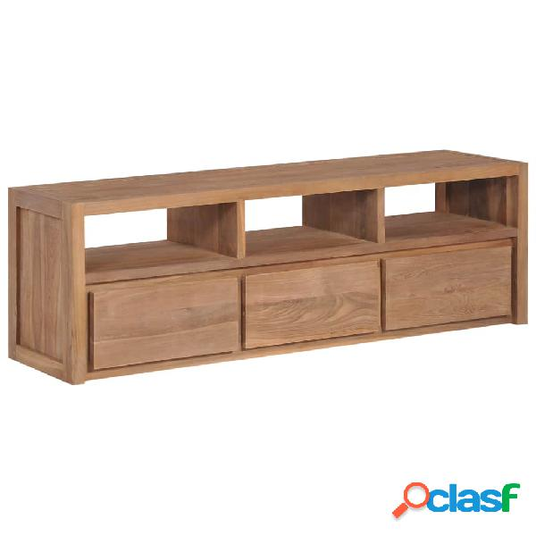 Mueble para TV madera teca maciza acabado natural 120x30x40