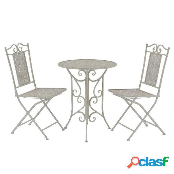 Set de mesa y sillas bistro de jardín 3 piezas gris de