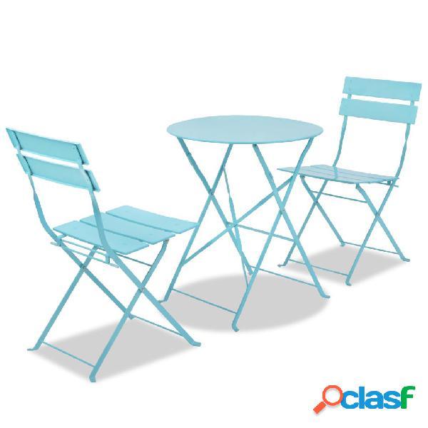 Set de mesa y sillas de jardín de acero azul
