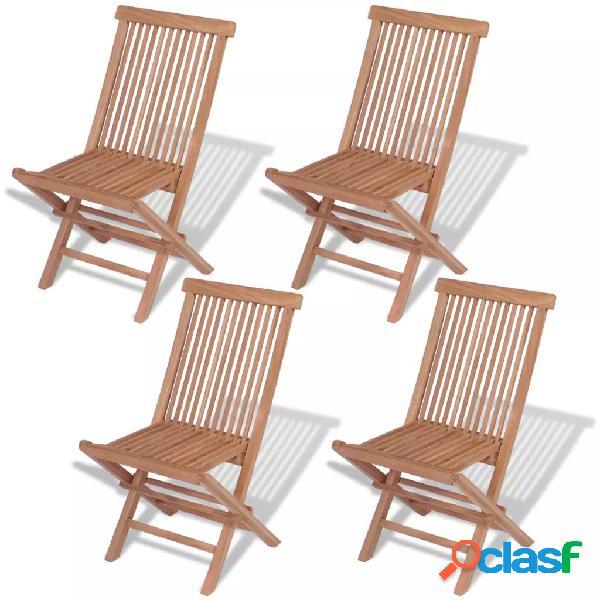 Sillas plegables de exterior madera maciza de teca 4 uds.