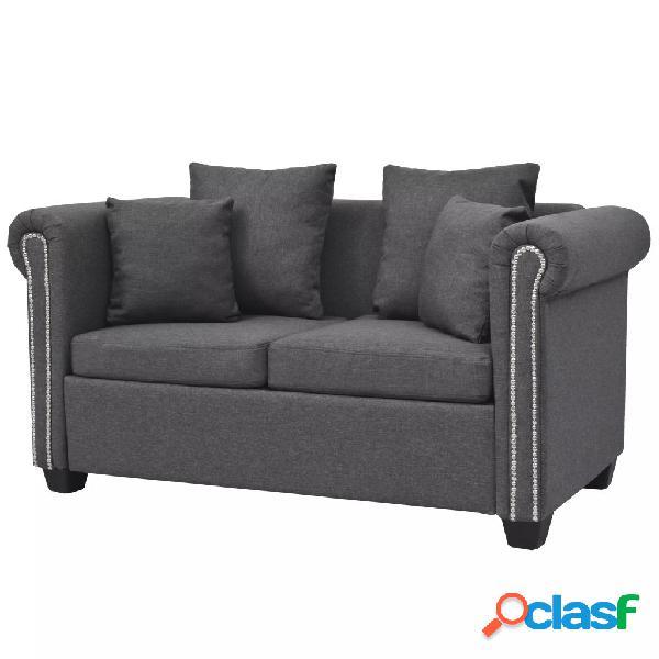 Sofá de 2 plazas de tela gris oscuro 143x75x73 cm
