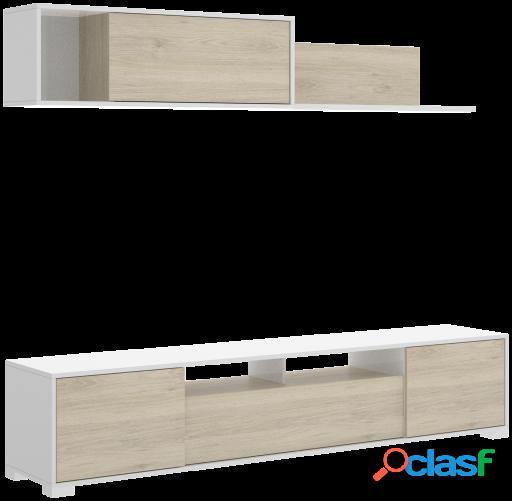 Wellindal Salón Tv con puertas y estante a pared