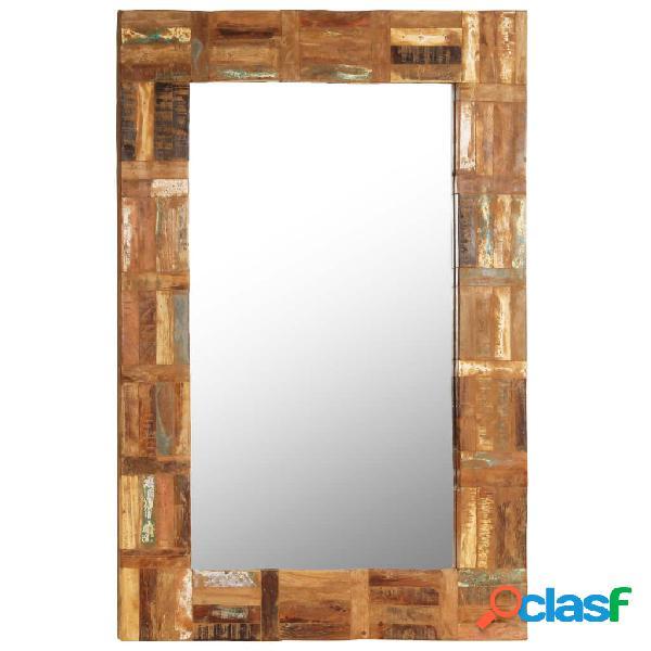 Espejo de pared madera maciza de traviesas del tren 60x90 cm