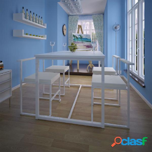 Set de mesa de comedor 1 mesas 4 sillas blanco