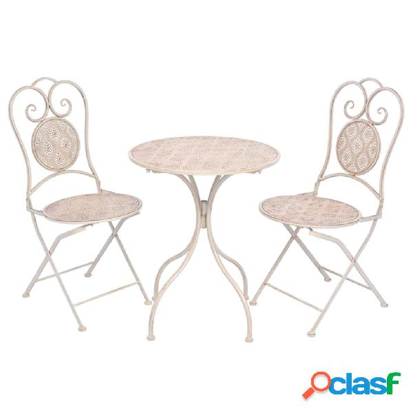 Set de mesa y sillas bistro de jardín 3 piezas blanco de